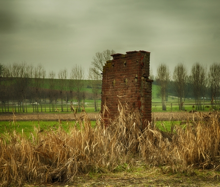 Old ruined wall in the middle of fields Stock Photo