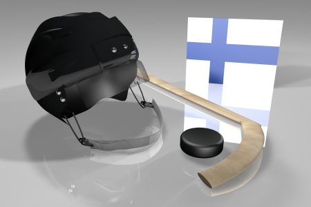 suomi: Finland flag, hockey helmet, puck and stick over reflecting surface, 3d render Stock Photo