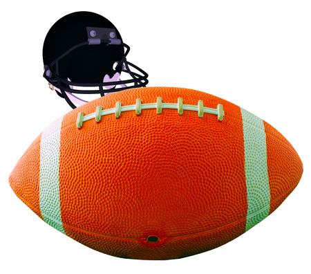 A football for american football isolated over white with helmet on the back photo