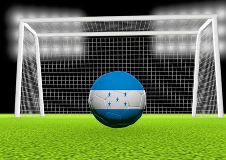 Honduras flag over soccer ball, in front of the net, 3d render photo