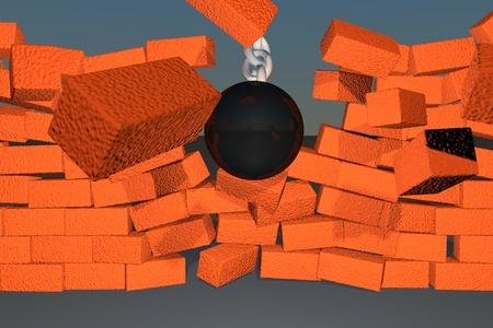 Wrecking ball braking down a brick wall, 3d render photo