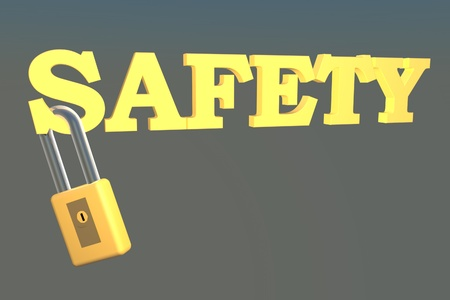 Word 'Safety' with metallic lock, 3d render photo