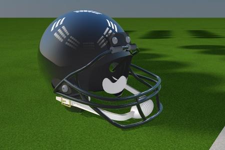 padding: Black football helmet over green field, 3d render