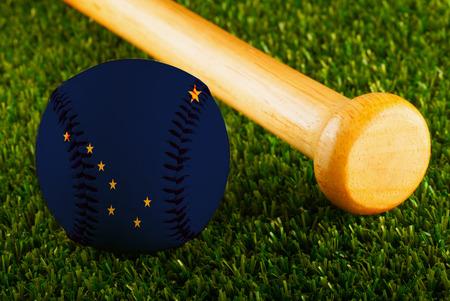 Baseball with Alaska flag and bat  Stock Photo