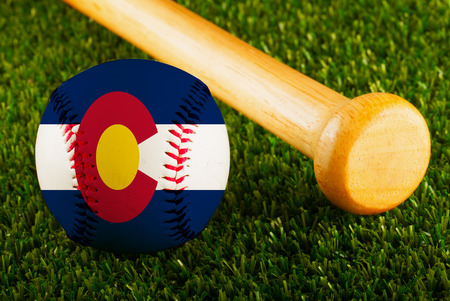 colorado flag: Baseball with Colorado flag and bat  Stock Photo