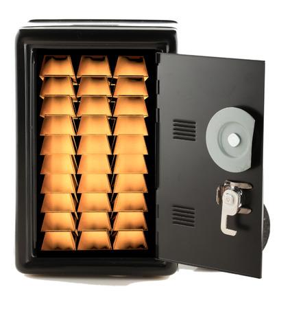 Many golden ingots in a strongbox, isolated over white Reklamní fotografie