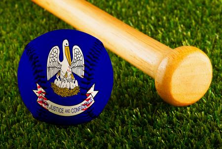 louisiana flag: Baseball with Louisiana flag and bat Stock Photo