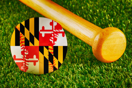 maryland flag: Baseball with Maryland flag and bat