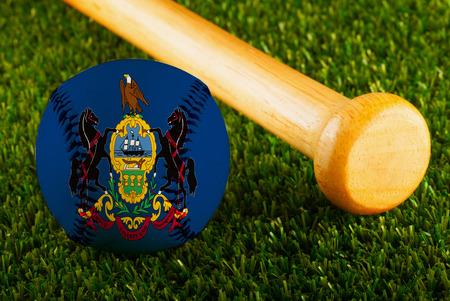 Baseball with Pennsylvania flag and bat  Stock Photo