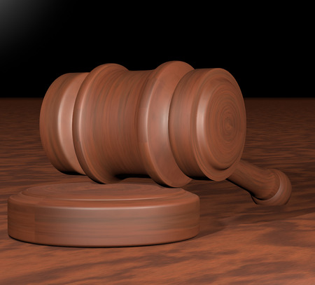 Judge gavel over wooden background, 3d render photo