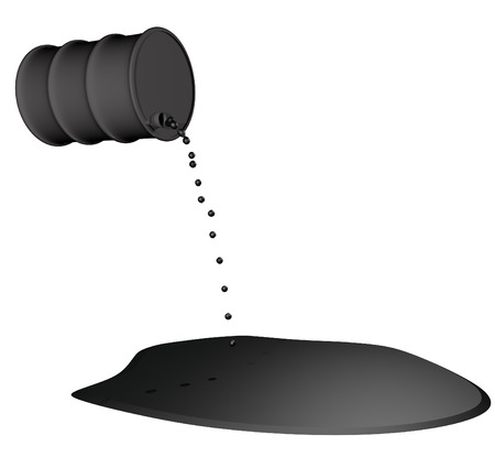 Oil pouring from barrel isolated over white, 3d render photo