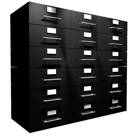 Black file drawer isolated over white, 3d render Stock Photo