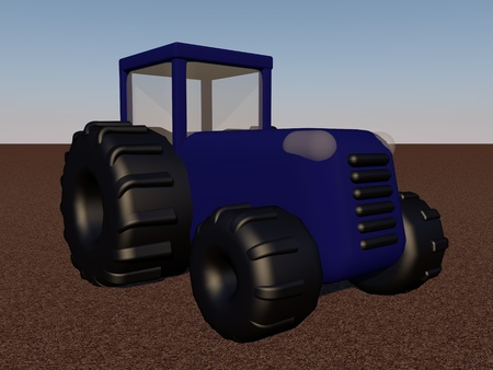 A blue tractor over field, 3d render photo