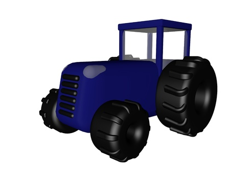 Blue tractor isolated over white, 3d render photo