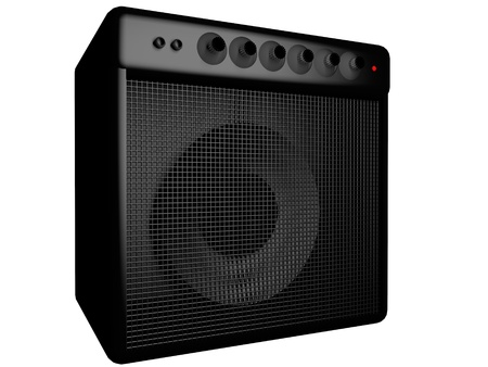 Black amp for guitar, isolated over white, 3d render Stock Photo - 28250450