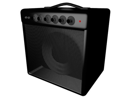 Black amp for guitar, isolated over white, 3d render Stock Photo - 28250451