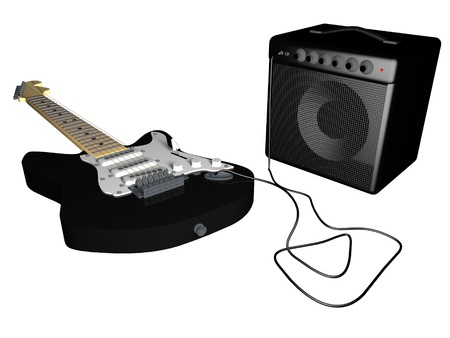 Guitar and amp over white, 3d render Stock Photo - 28251015