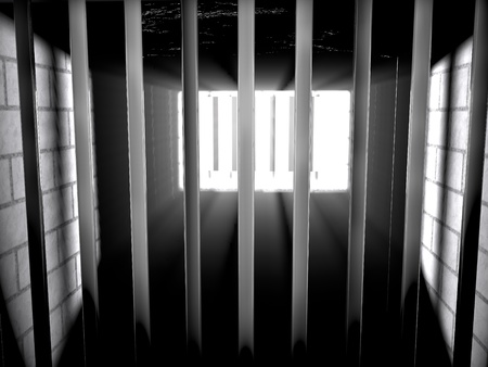 Inside a jail with light coming from outside, 3d render photo