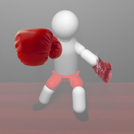 glove puppet: Red gloved puppet boxer in the mist, 3d render