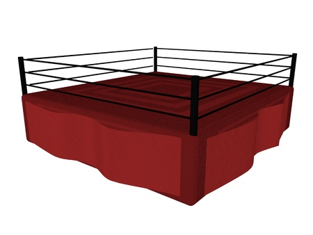 Boxing ring isolated over white, 3d render photo