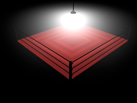 Boxing ring illumnated in the darkness, 3d render photo