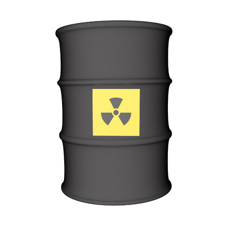 Nuclear danger symbol over metal barrel, isolated over white, 3d render photo