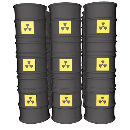 Nuclear danger symbol over many barrels, isolated over white, 3d render photo