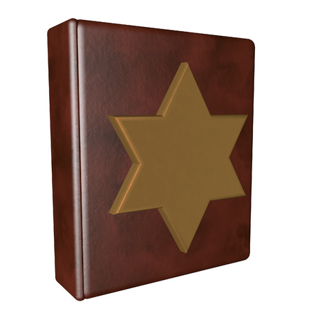 david brown: Leather book with golden Star of David, isolated over white, 3d render