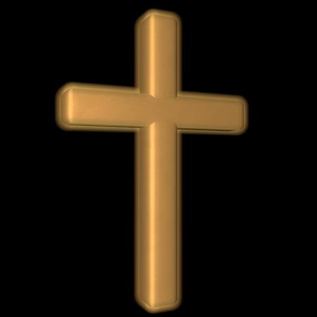 shafts: Golden Cross over black background, 3d render