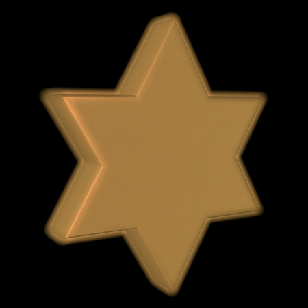 Golden Star of David over black background, 3d render photo
