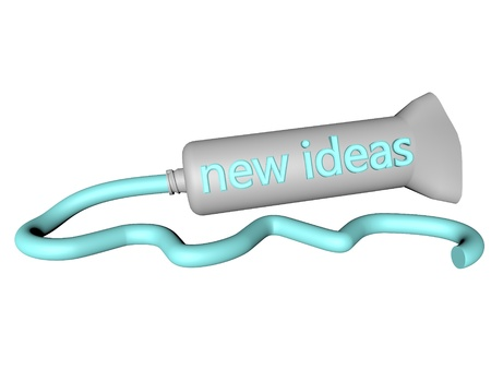 toothpaste tube: Toothpaste tube with text new ideas on the side, 3d render