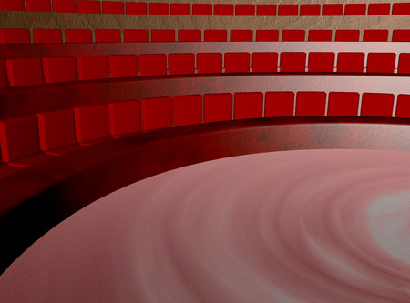 Parliament with red seats, inside view, 3d render photo