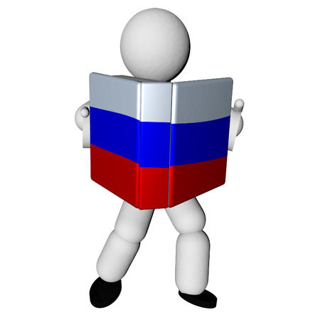 Puppet reading book with Russian flag on cover, 3d render photo