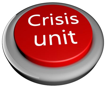Crisis unit text over red button, 3d render