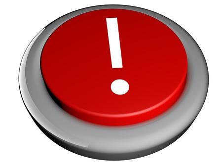 points sur le bouton rouge d'exclamation, rendu 3d Banque d'images
