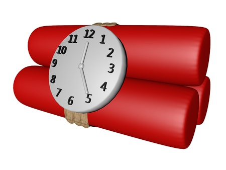 Red candles of dynamite with clock, isolated over white, 3d render
