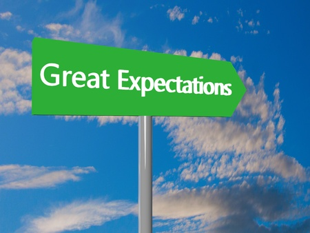 expectations: Green cartel with text Great Expectations, 3d render