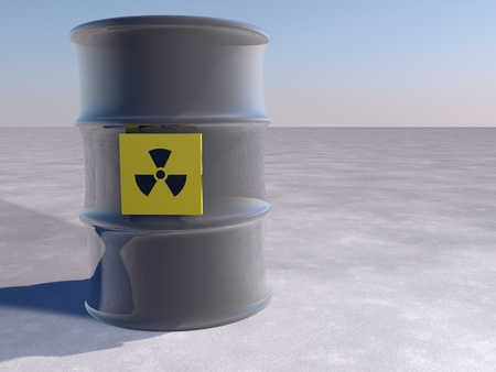Metallic barrel with nuclear danger symbol, 3d render photo