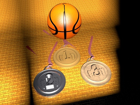 Basketball and gold, silver and bronze medals, 3d render photo