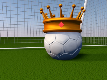 Soccer ball with golden crown, 3d render photo