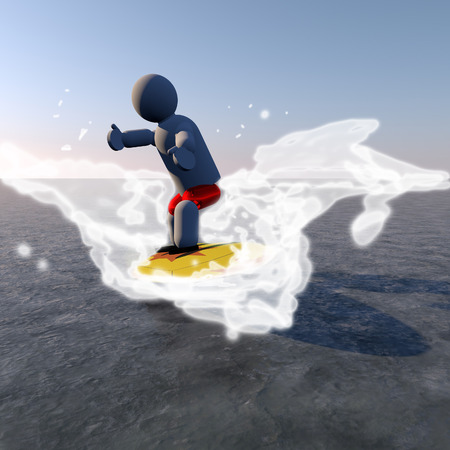 Puppet surfing in the waves, 3d render photo
