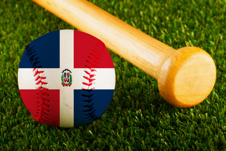 Baseball with Dominican Republic flag and bat