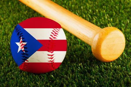 Baseball with Puerto Rico flag and bat