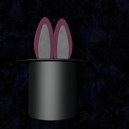 Bunny ears coming out of a cylinder hat, 3d render photo