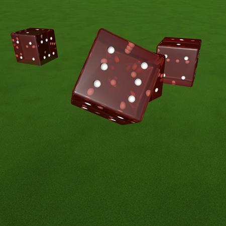 green carpet: Rolling dice over green carpet, 3d render Stock Photo