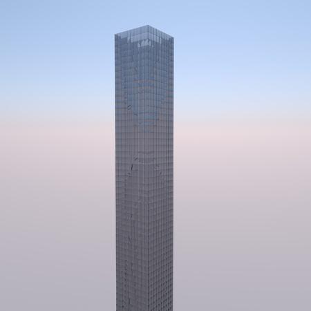 Skyscraper over a blue sky, 3d render