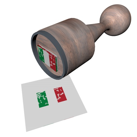 Wooden stamp with Italian flag, 3d render photo