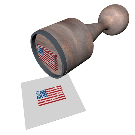 Wooden stamp with USA flag, 3d render photo