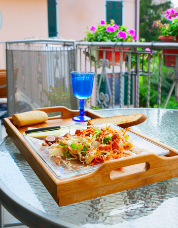 lunch tray: Salad over a tray, for outdoor lunch on the balcony
