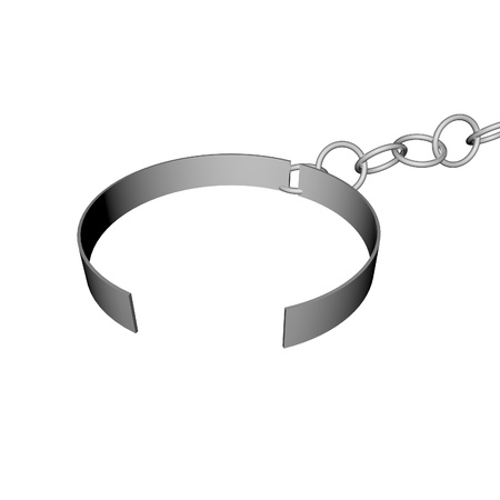 freed: Open ring of chains, symbol of freed prisoner, 3d render